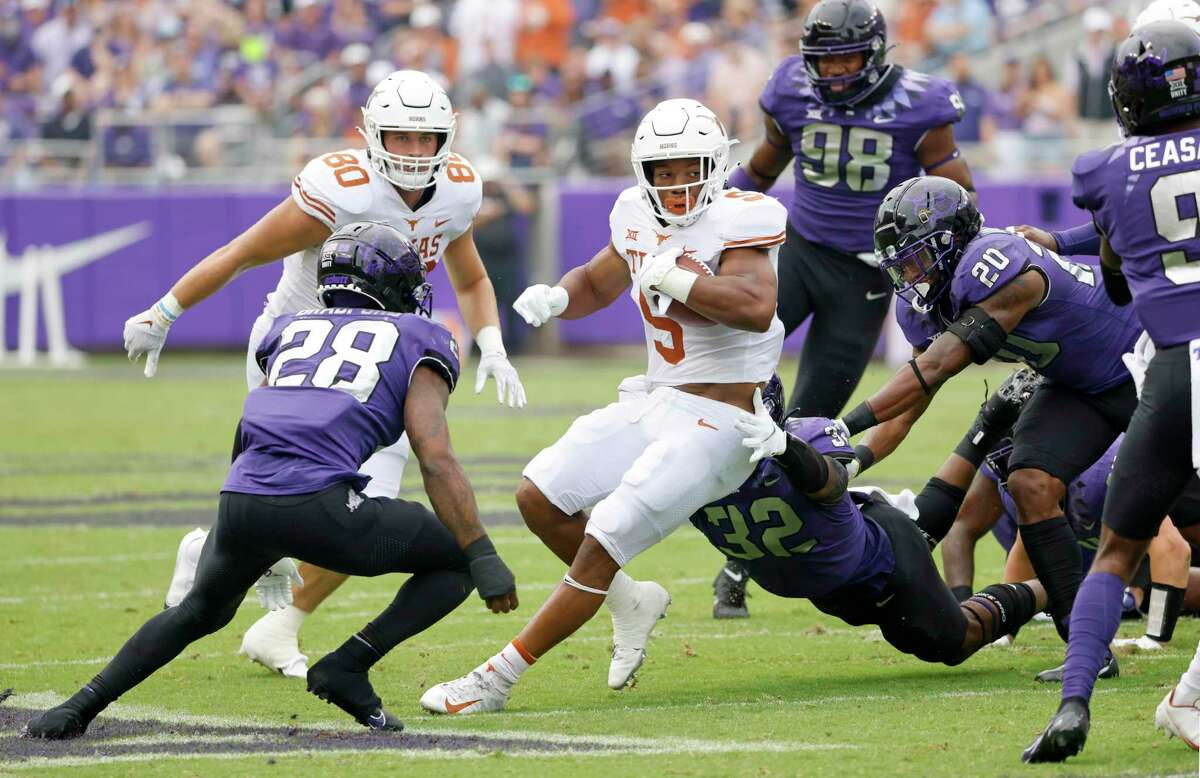 Even in traffic, Bijan Robinson is often able to spin out of it for an extra yard or two.