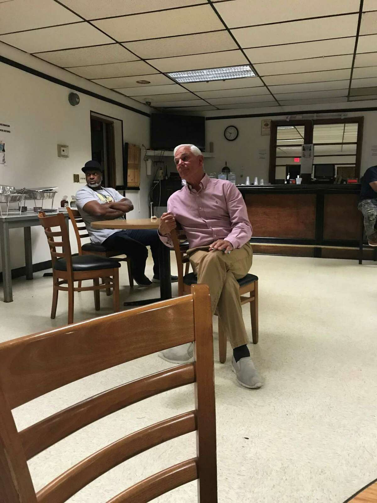 Unaffiliated mayoral candidate Bobby Valentine speaks with residents at the Shining Star Lodge No. 303 in Stamford, Conn., on Monday, Oct. 4, 2021.