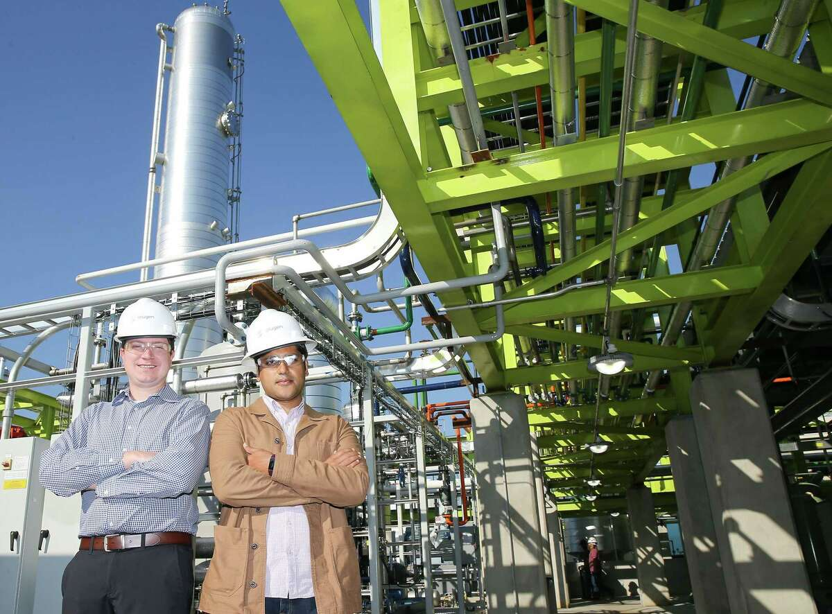 Solugen founders Sean Hunt, left, and Gaurab Chakrabarti at their company in Houston on Wednesday, Oct. 6, 2021. The young chemical company that creates product to clean industrial wastewater without causing other environmental problems, recently raised $350 million and is valued at $1.8 billion.
