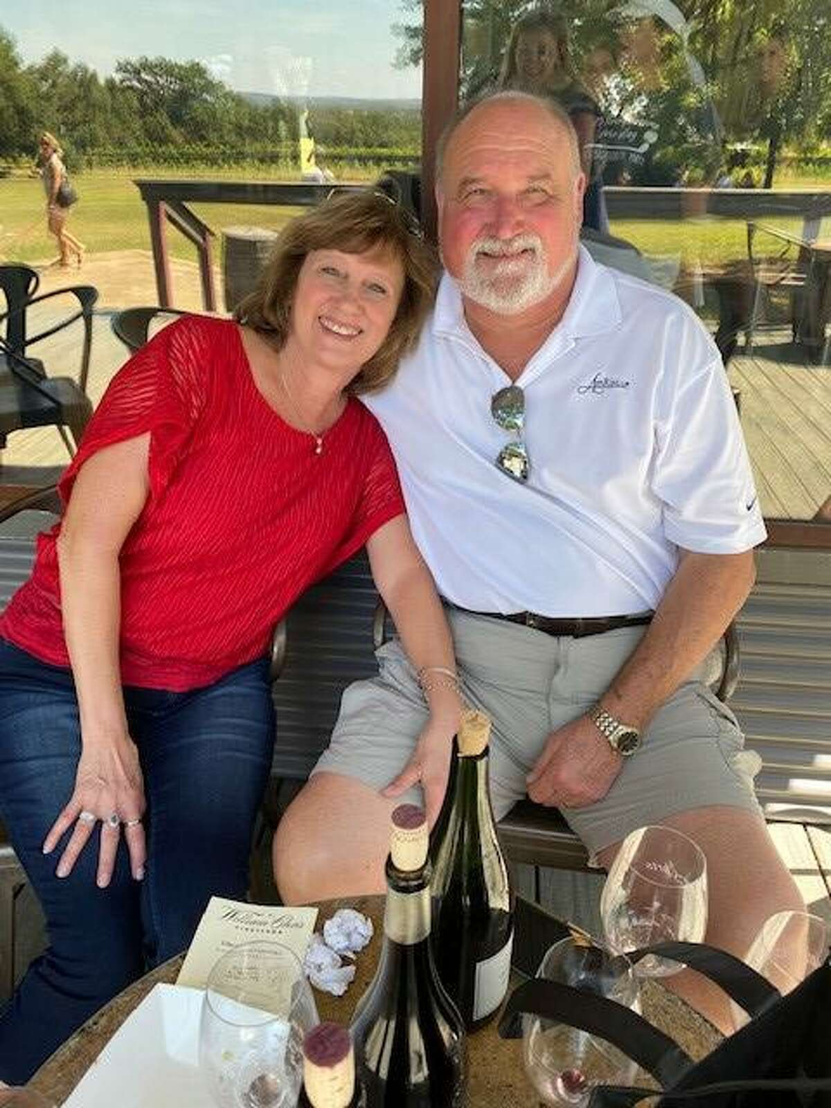 Kathy Lohberg with her husband Vic Lohberg in Fredericksburg following the completion of her radiation treatment.
