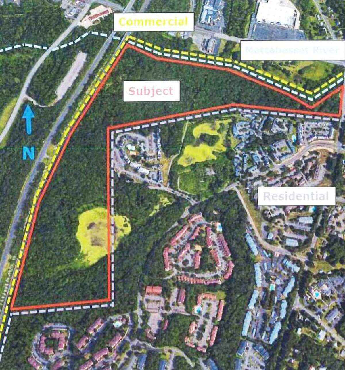 The city of Middletown will be purchasing 74.3 acres on Westlake Drive and East Street, near Interstate-91, for open space and passive recreation. Shown here are land use patterns.