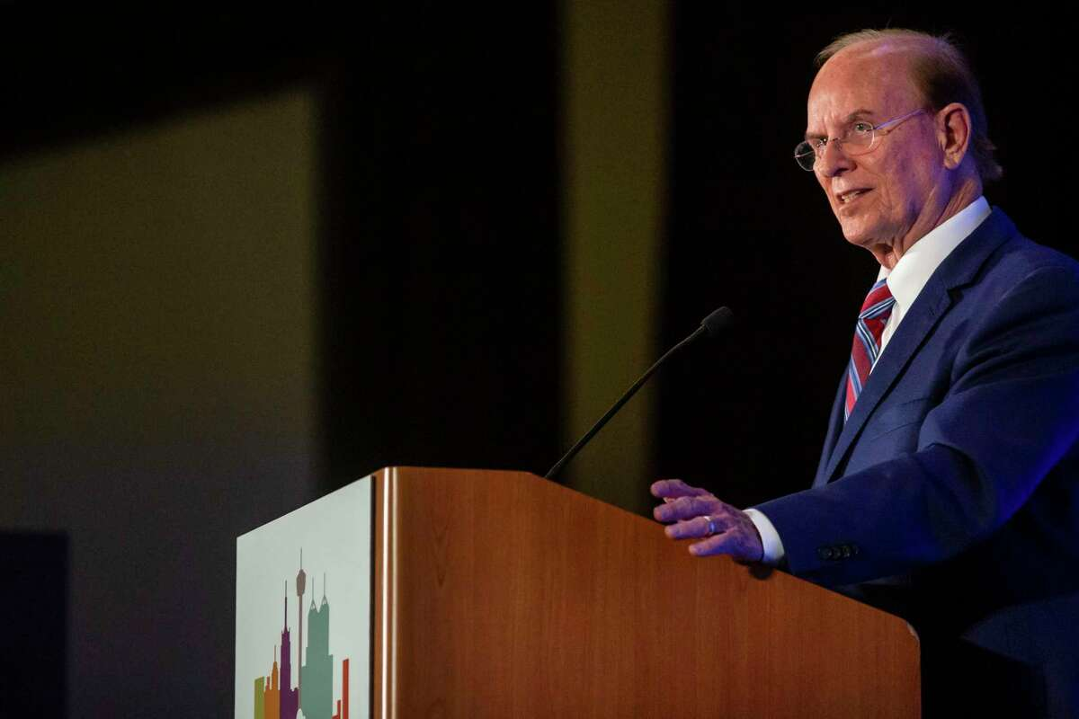Bexar County Judge Nelson Wolff delivers the 2021 State of the County address on Oct. 6, during which he confirmed that he will not be running for re-election in 2022.
