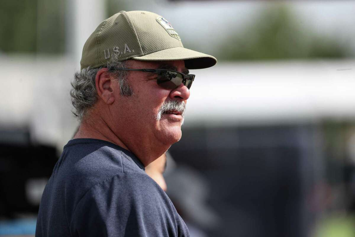 Cal McNair, Houston Texans CEO, watches practice during an NFL training camp football practice Monday, Aug. 2, 2021, in Houston.