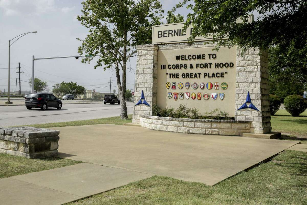 A welcome sign can be seen at the entrance of III Corps and Fort Hood in Killeen, Texas, on July 2, 2020. (Bronte Wittpenn/Austin American-Statesman/TNS)