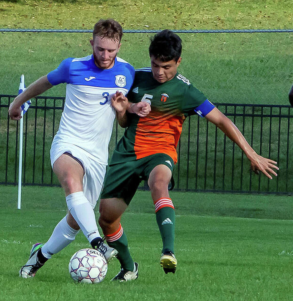 Lewis and Clark's Daylan Frerker, left, controls the ball against Jean Arreguin of Lincoln Trail Wednesday at Rooney Stadium. No. 13-ranked LCCC won 4-1.