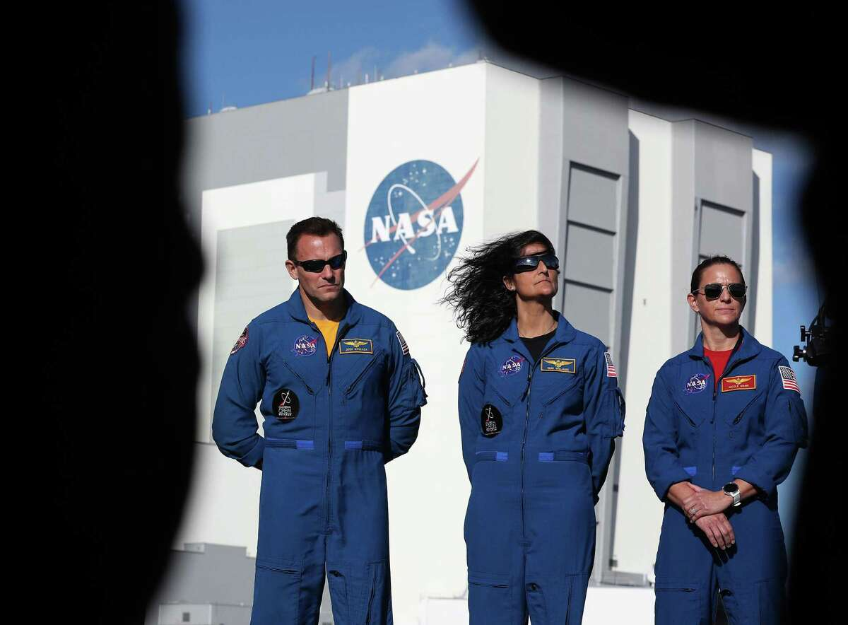 NASA astronauts, left to right, Josh Cassada, Suni Williams and Nicole Mann speak to the media a day before the scheduled launch of a United Launch Alliance Atlas V rocket, topped by a Boeing CST-100 Starliner spacecraft, from Space Launch Complex 41 on December 19, 2019 in Cape Canaveral, Florida. (Photo by Joe Raedle/Getty Images)