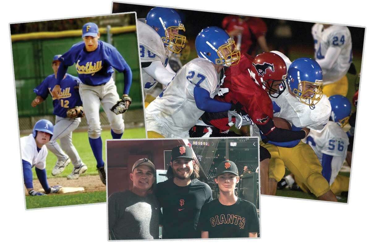Brian Frietas, shown at bottom right with son, Jacob, and Brandon Crawford earlier this season, coached the future Giants shortstop in baseball and football (Crawford making tackle on right) at Foothill High.
