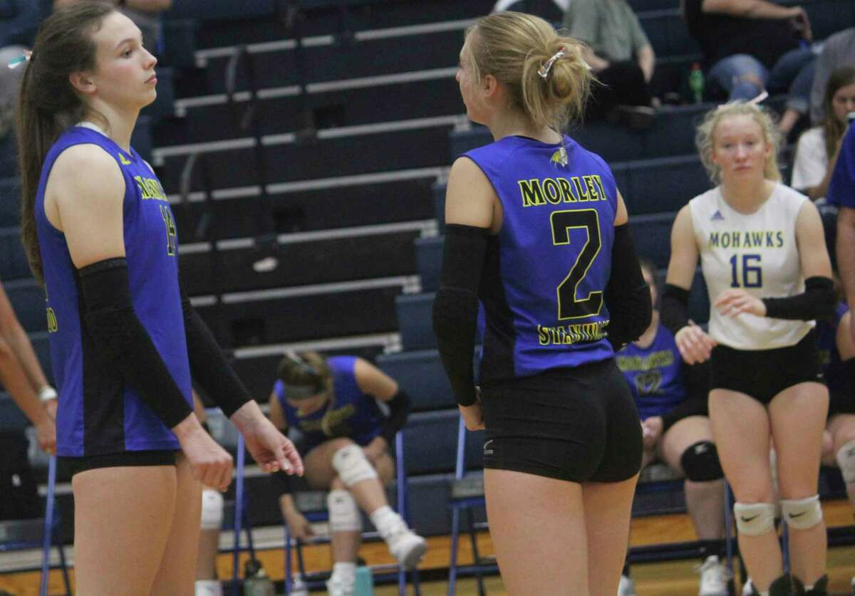 Morley Stanwood volleyball players, from left, Lila Hoisington, Emilee Cornell and Brooke Edgerley hope to be on their way to another CSAA Silver title. (Pioneer photo/John Raffel)