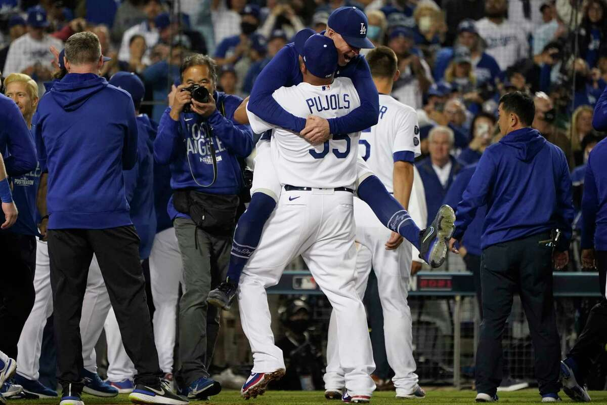 of a National League Wild Card playoff baseball game Wednesday, Oct. 6, 2021, in Los Angeles. (AP Photo/Marcio Jose Sanchez)