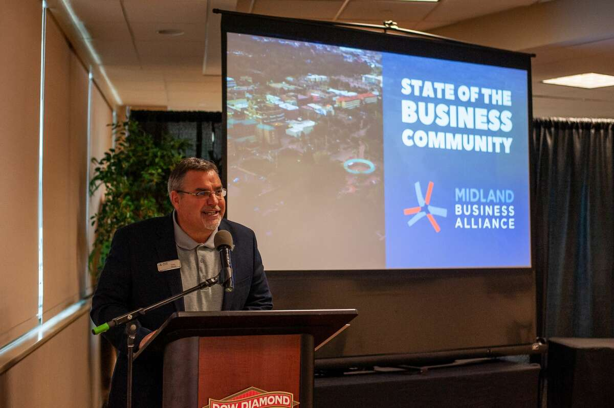 President and CEO of the Midland Business Alliance Tony Stamas speaks at the MBA's State of the Business Community on Oct. 6, 2021, at Dow Diamond.