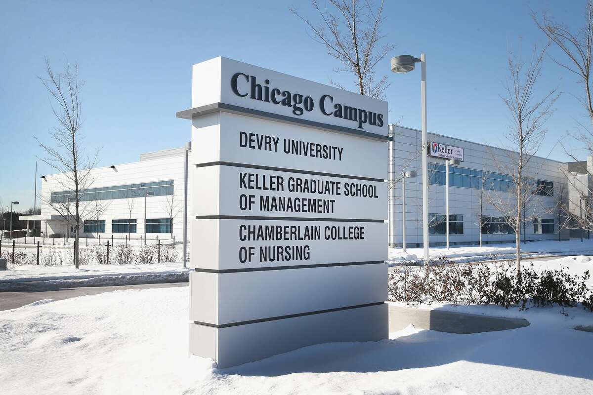A sign identifies DeVry's Chicago campus on February 10, 2014 in Chicago, Illinois.(Photo by Scott Olson/Getty Images)
