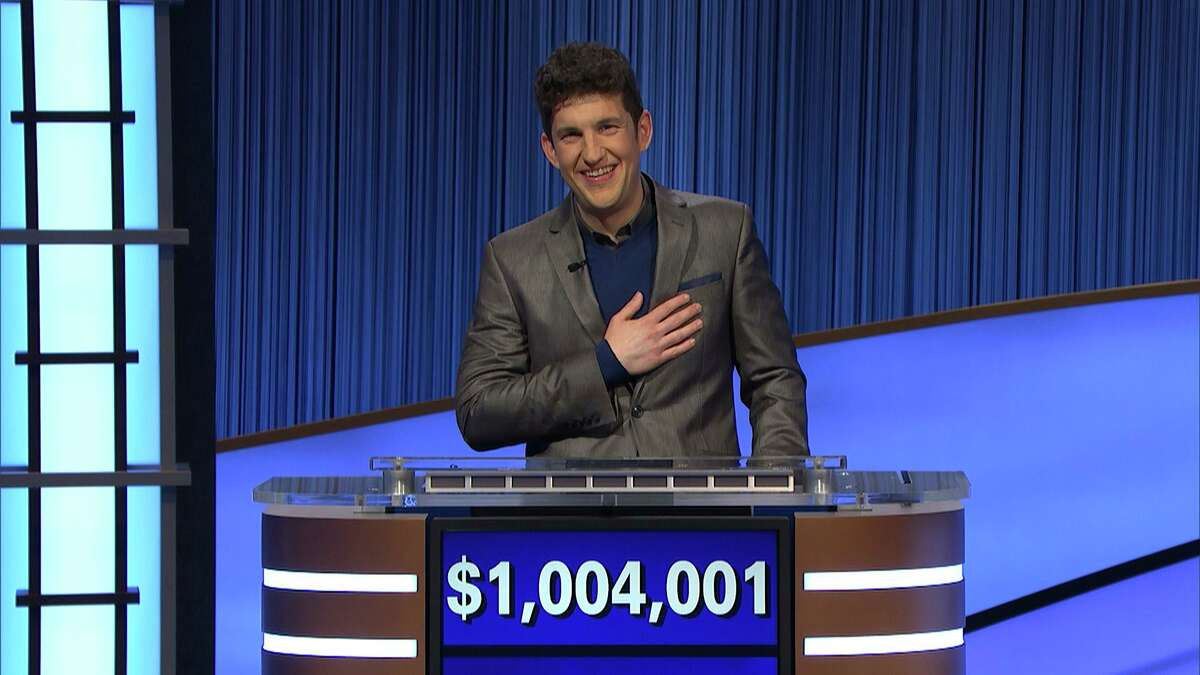"""""""Jeopardy!"""" contestant Matt Amodio after his total win amount was announced, Friday, Sept. 24, 2021. Amodio is a fifth-year computer science Ph.D student at Yale University."""