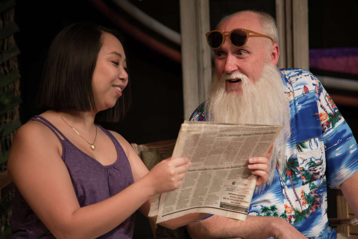 """After 18 months with Houston theaters locked by COVID-19, Main Street Theater's live stage production of """"Darwin in Malibu"""" resonates perfectly with that coronavirus symptom of feeling out of place. Pictured here are David Harlan as Darwin and Mai Le as Sarah."""