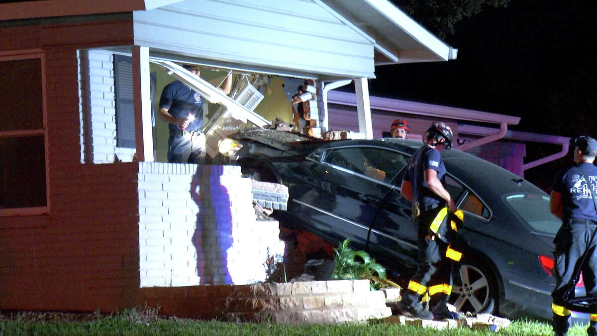 A 3-year-old girl was hospitalized Thursday morning after a suspected drunken driver crashed his vehicle into the home where she was sleeping, San Antonio police said.