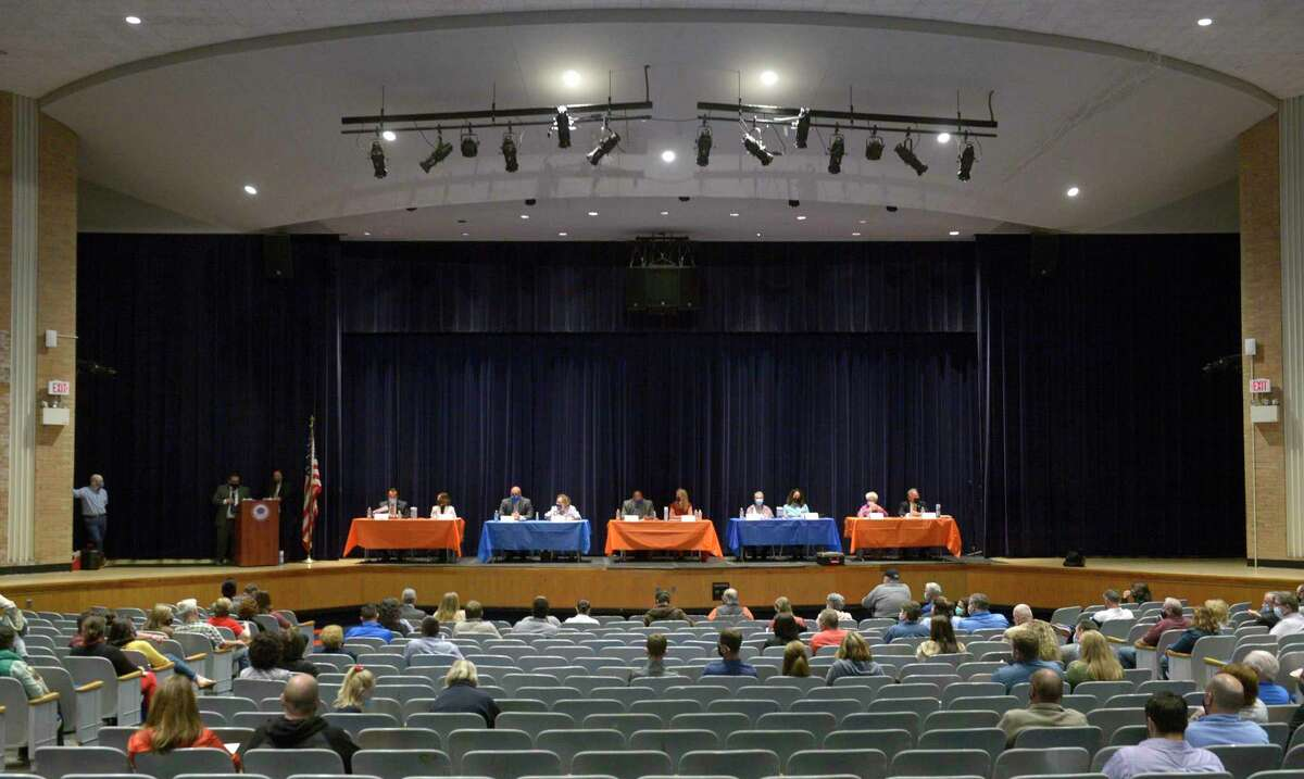 The Danbury City-Wide PTO hosted a candidate forum for the city's mayoral and school board candidates at Danbury High School. Wednesday night, October 6, 2021, Danbury, Conn.