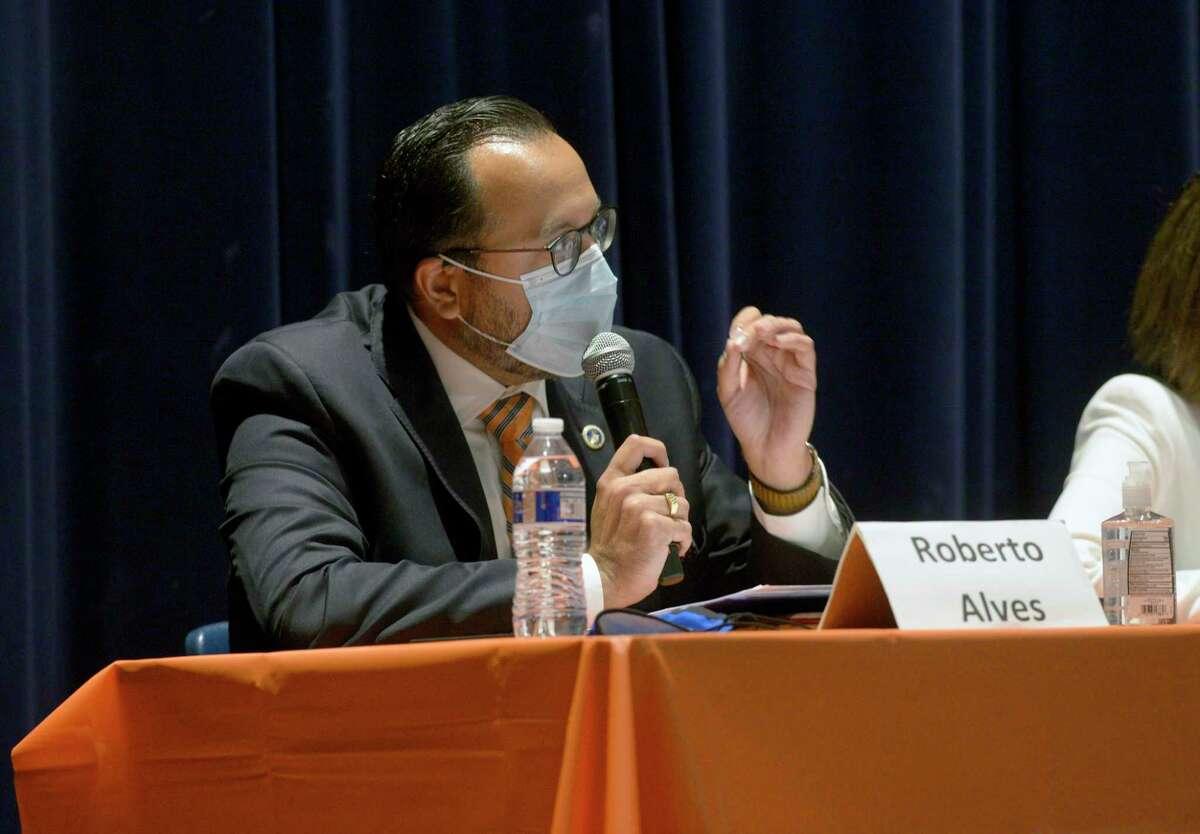Mayoral candidate Democrat Roberto Alves speaks during the Danbury City-Wide PTO candidate forum at Danbury High School. Wednesday night, October 6, 2021, Danbury, Conn.