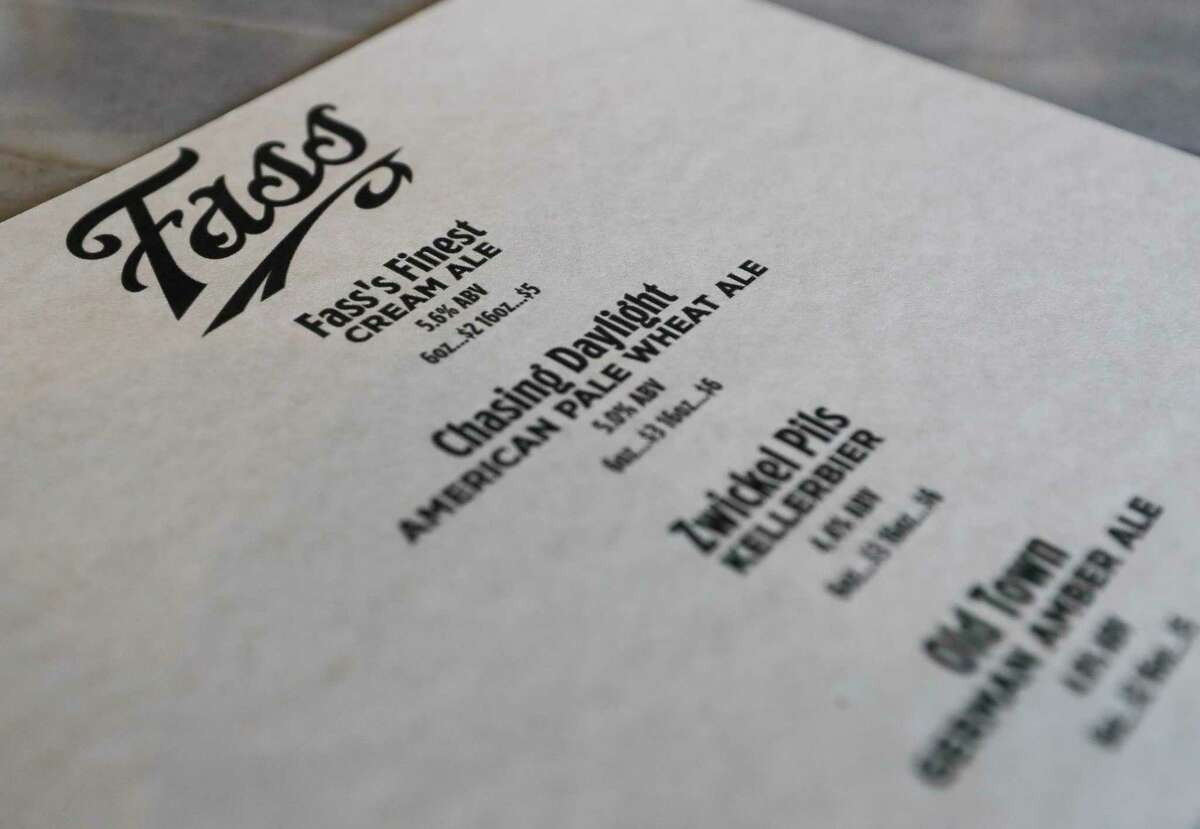 A beer menu at Fass's Finest, a new Conroe brewery at at Main Street and Simonton Street, is seen.