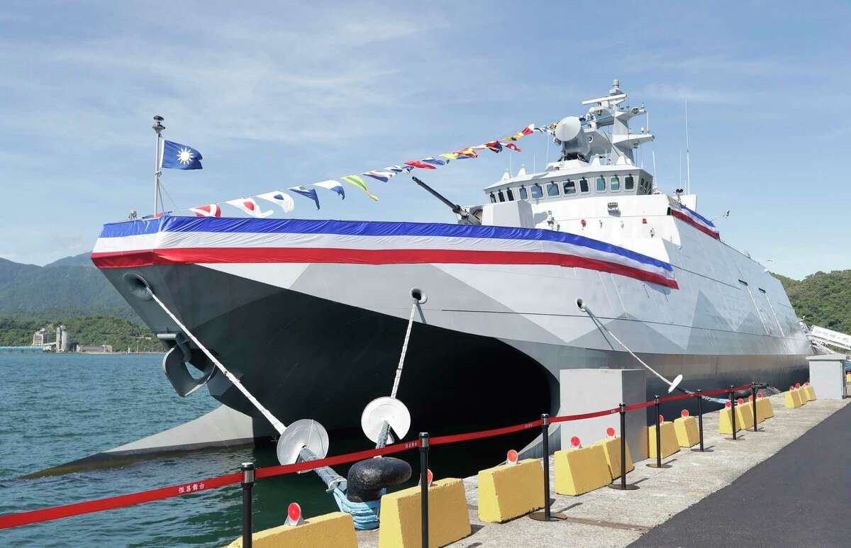 A new Taiwanese warship is docked after its commissioning ceremony last month. Taiwan must be armed to the teeth to rebuff threats from China.