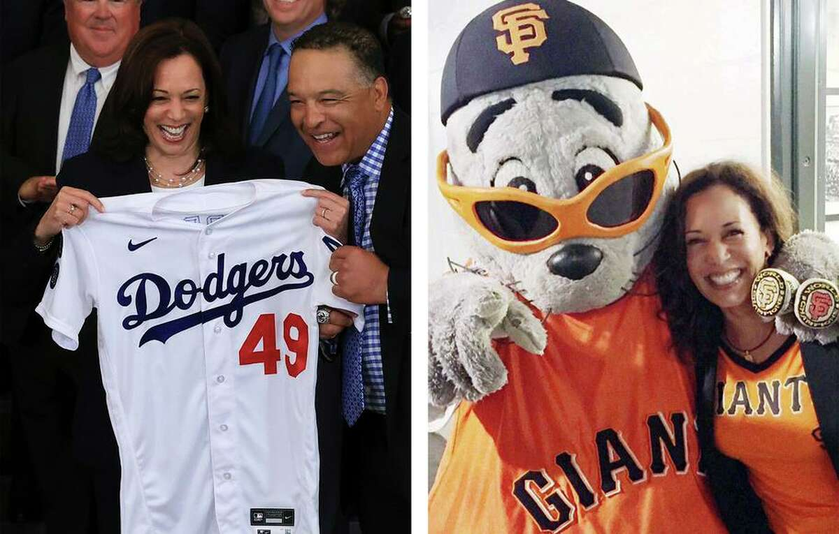 Left: Los Angeles Dodgers Manager Dave Roberts presents U.S. Vice President Kamala Harris with a jersey as she and President Joe Biden host the 2020 World Series champions in the East Room of the White House in July. Right: Harris at a Giants game.