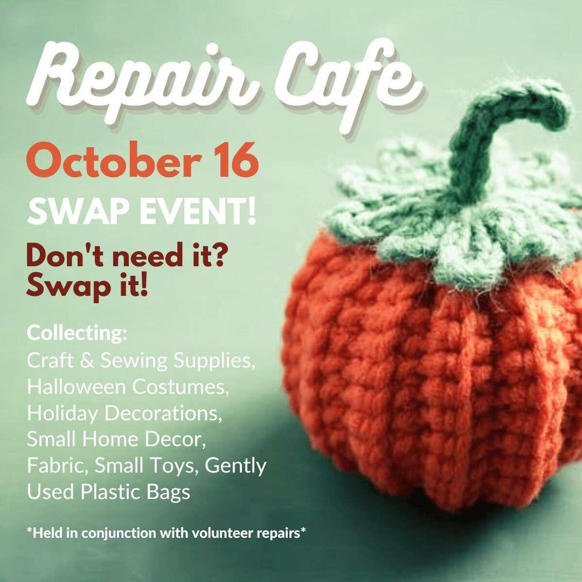The Rockfall Foundation, in cooperation with city of Middletown Recycling and Public Works departments, as well as the RiverCOG, will be hosting a repair café Oct. 16 at the deKoven House Community Center in Middetown. A swap event will also be held that day.