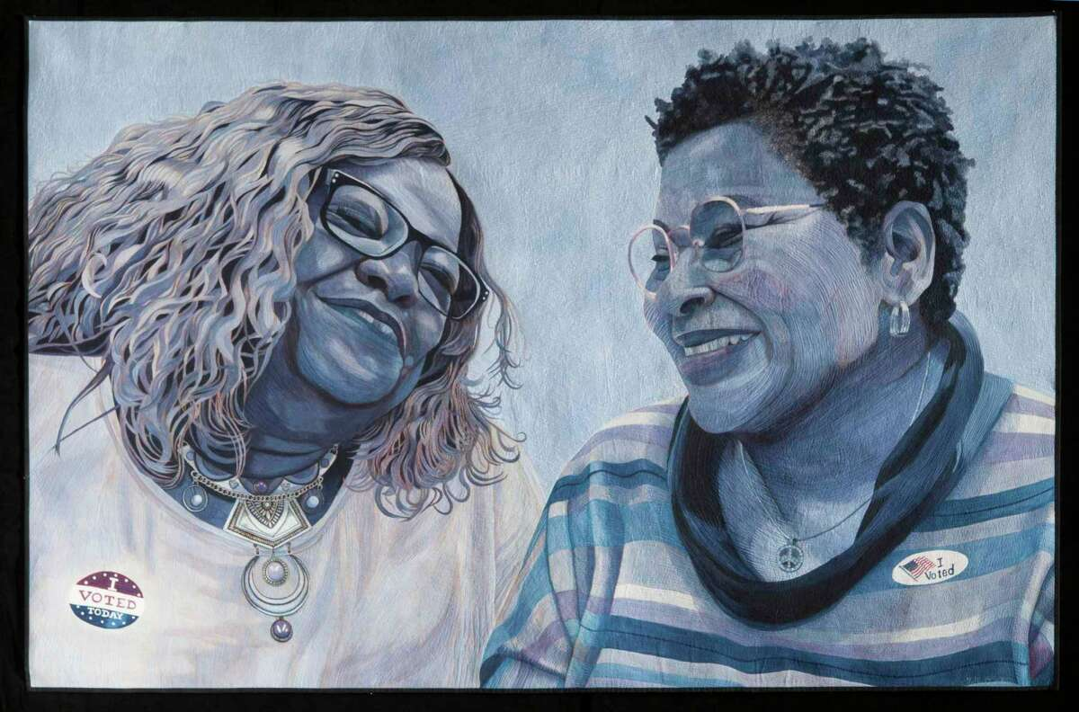"""Hollis Chatelain of Hillsborough, N.C. won the Superior Threads Master Award for Thread Artistry and a $5,000 prize for her """"Sharing the Moment"""" quilt about Black women and voting."""