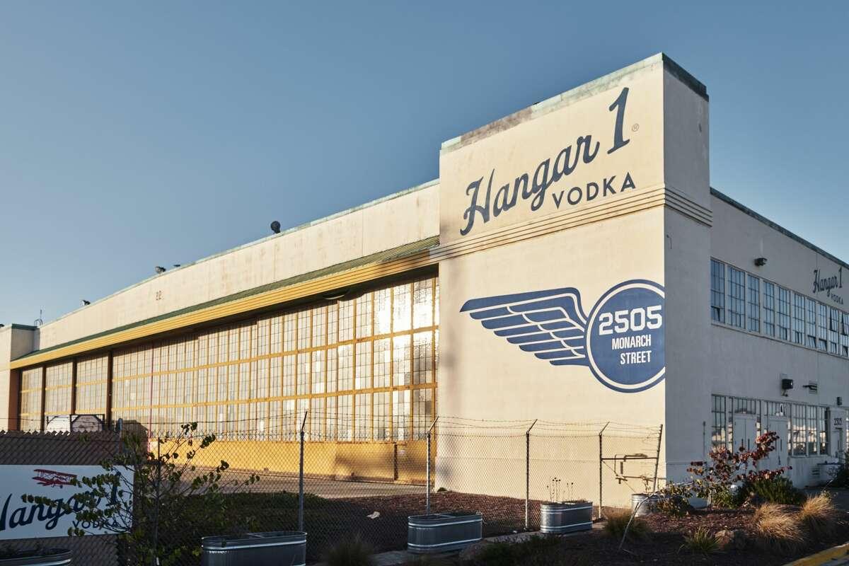 The exterior of Hangar 1, housed in a former World War II-era airplane hangar.