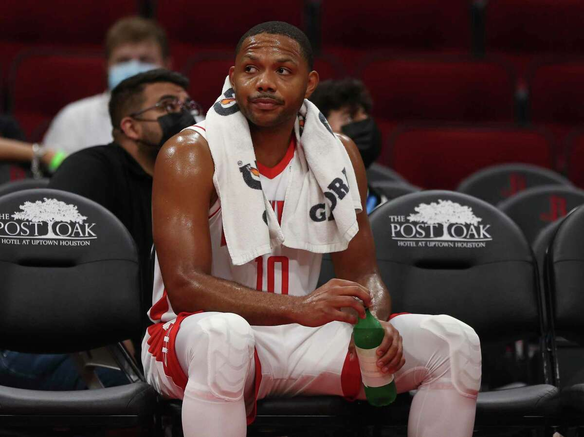 Houston Rockets guard Eric Gordon (10) rests on the sideline during a time out in the third quarter of the NBA game against the Washington Wizards Tuesday, Oct. 5, 2021, at Toyota Center in Houston. The Rockets defeated the Wizards 125-119.