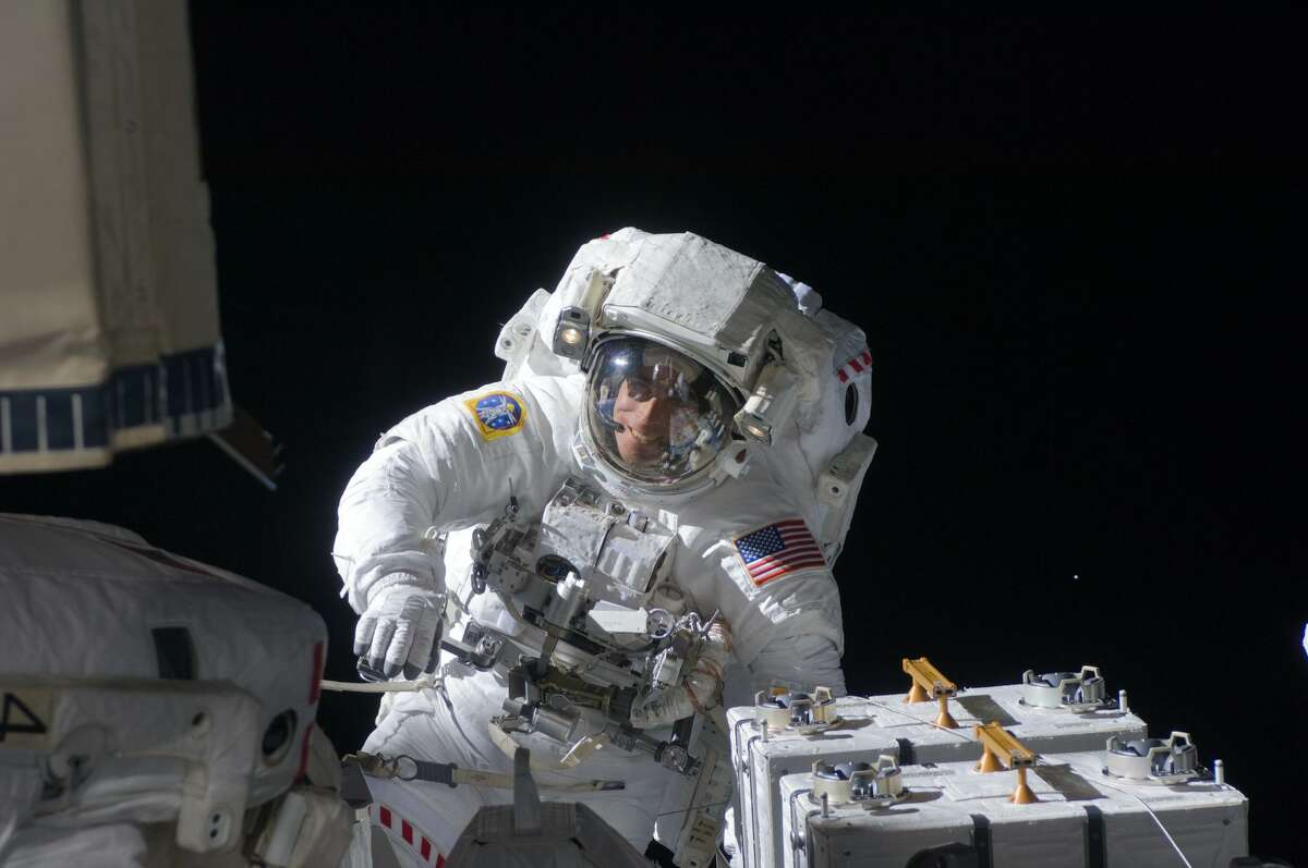 NASA astronaut Chris Cassidy participates in a spacewalk. The University of Texas Medical Branch, in conjunction with the National Aerospace Training and Research Center in Southampton, Pa., is conducting research into the safety of spaceflight passengers who have existing medical conditions.
