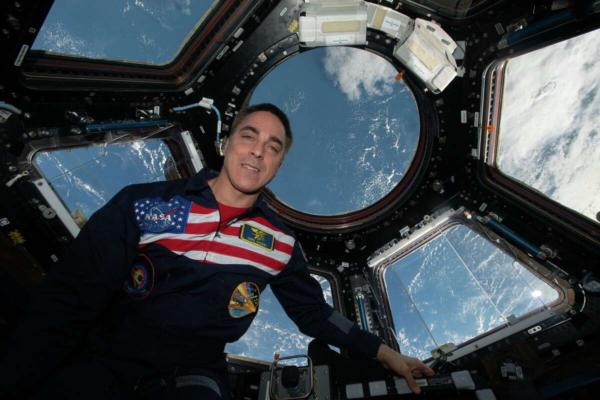 NASA astronaut Chris Cassidy in the International Space Station's cupola on Sept. 11, 2020.