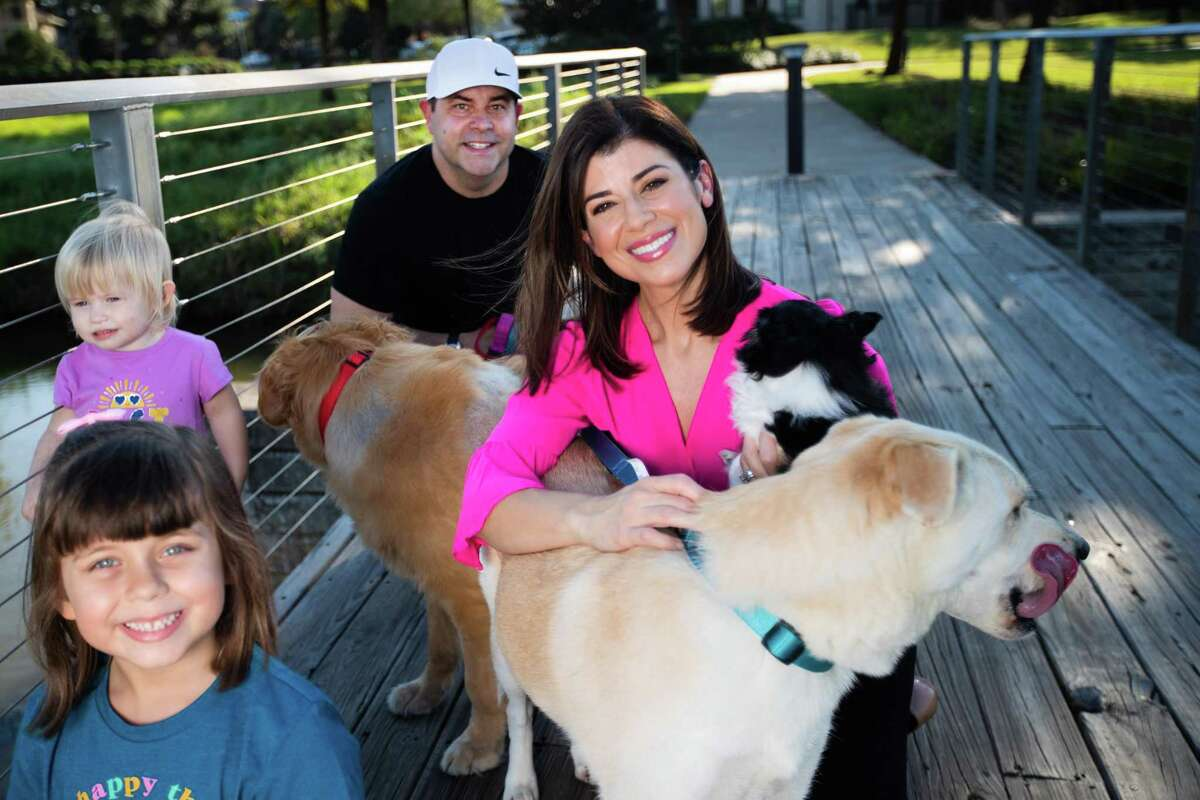 KPRC 2 anchor Lisa Hernandez, her husband Joel Blank, her two daughters Taylor Blank, 6, Maddie Blank, 2, and four rescue dogs, Jack, a Husky-Shepherd mix, Boomer, a Golden Retriever, Sophie, a Pitt-Boxer mix, and Luna, a Chihuahua mix.