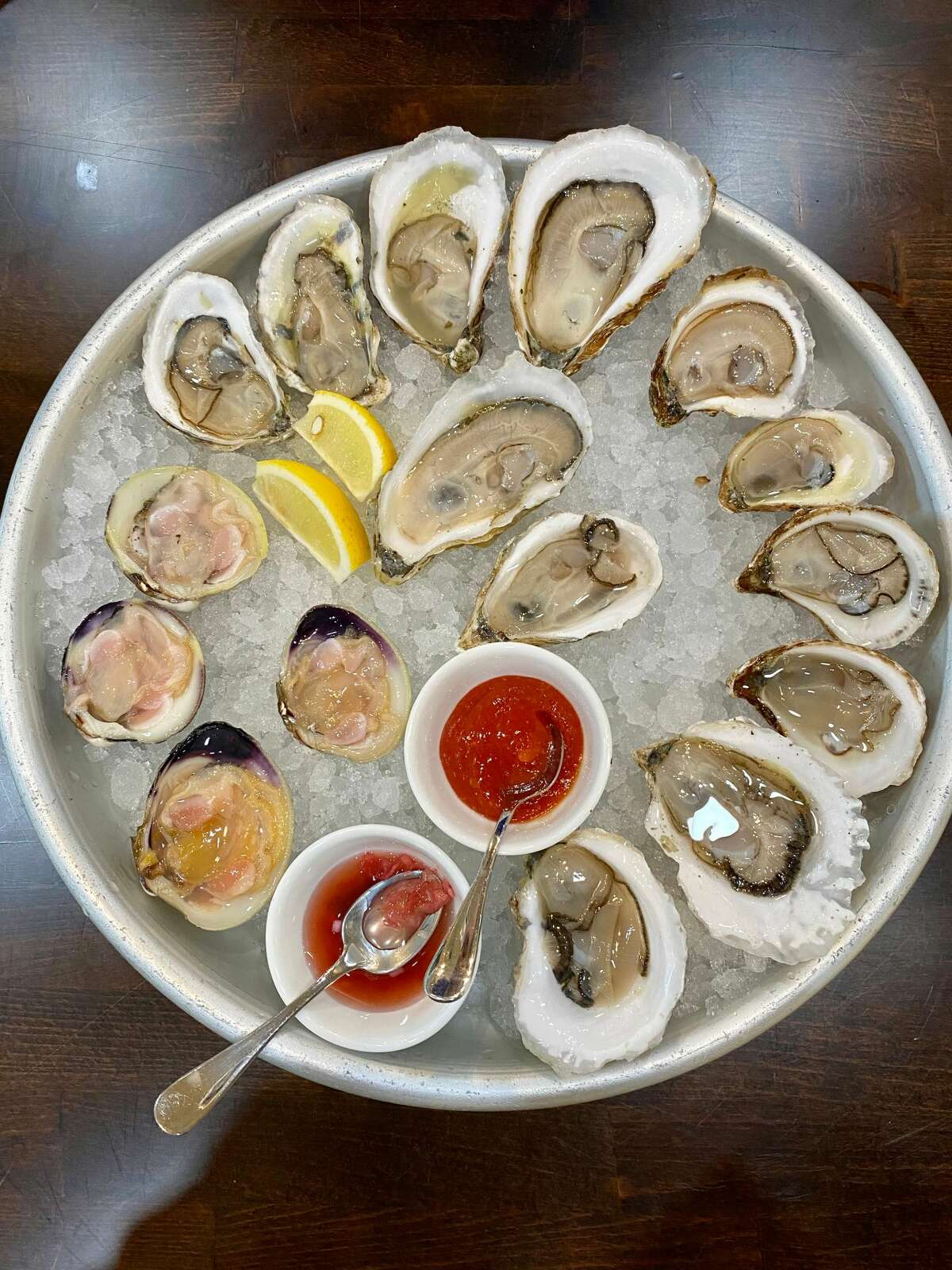 Oyster platter at Hooked Market & Kitchen in Latham.