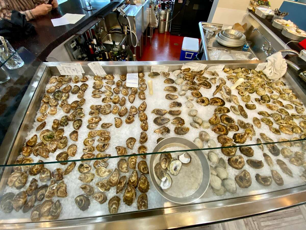 The oyster display at Hooked Market & Kitchen in Latham usually has half a dozen varieties.