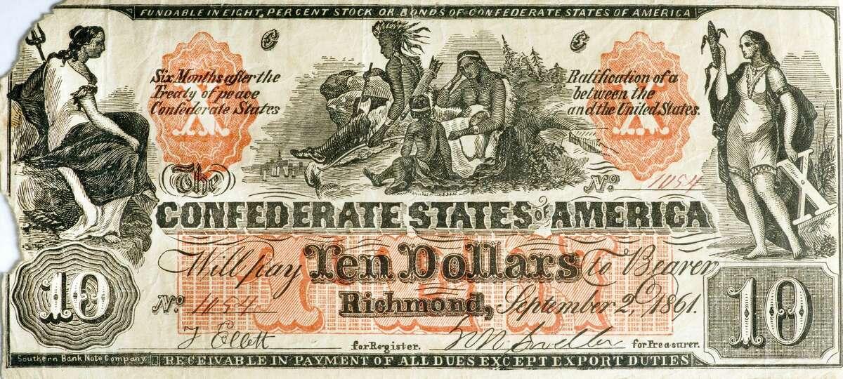 A counterfeit Confederate $10 bill made in Civil War times.