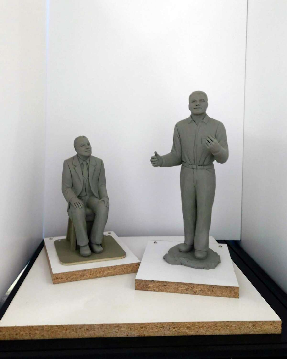 A minature sculptures of James Earl Jones and his mentor, Donald Crouch by artistBernadette Zachara-Marco is part of an exhibit at the Ramsdell Regional Center for the Arts.Zachara-Marco has been commissioned to createfull-size bronze sculptures to be installed in the Brethren area.(Courtesy Photo)