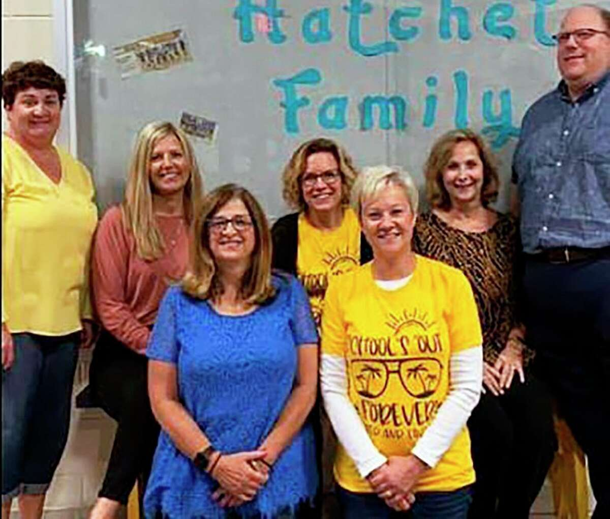 Among the Bad Axe teachers retiring over the past two years are, from left, front row, Laura Wolverton and Renee Chumbler, and back row, Tammy Lutz, Michelle McIntyre, Stephanie Anderson, Jan Neeb and Jim Osentoski. (Courtesy Photo)