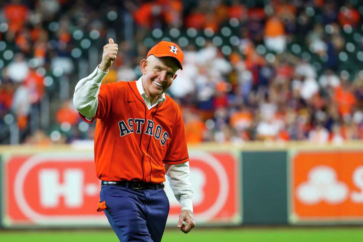 Mattress Mac throws out the ceremonial first pitch before Game 1 of the AL Division Series Thursday, Oct. 7, 2021, in Houston.