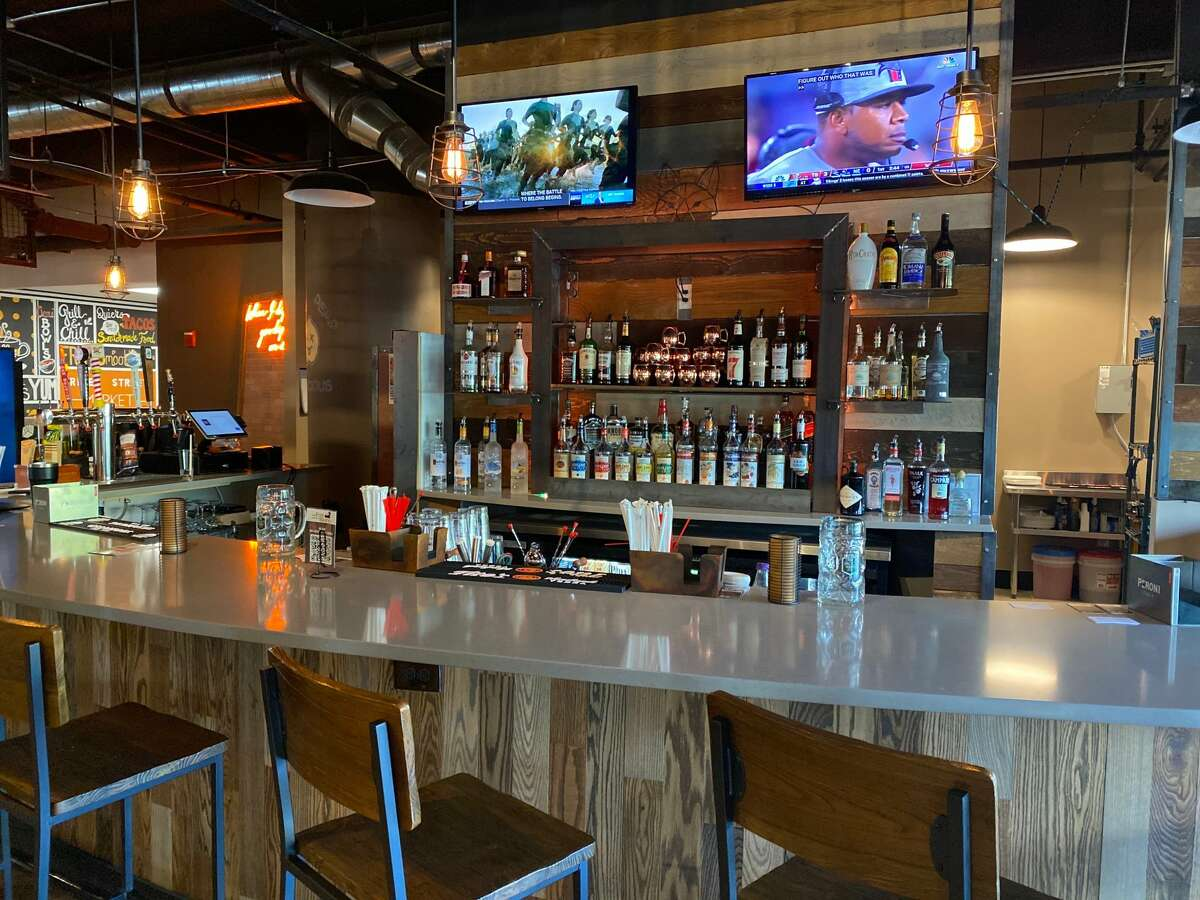 The bar at The Fox and the Burn, newly opened in Troy's River Street Market Food Hall.