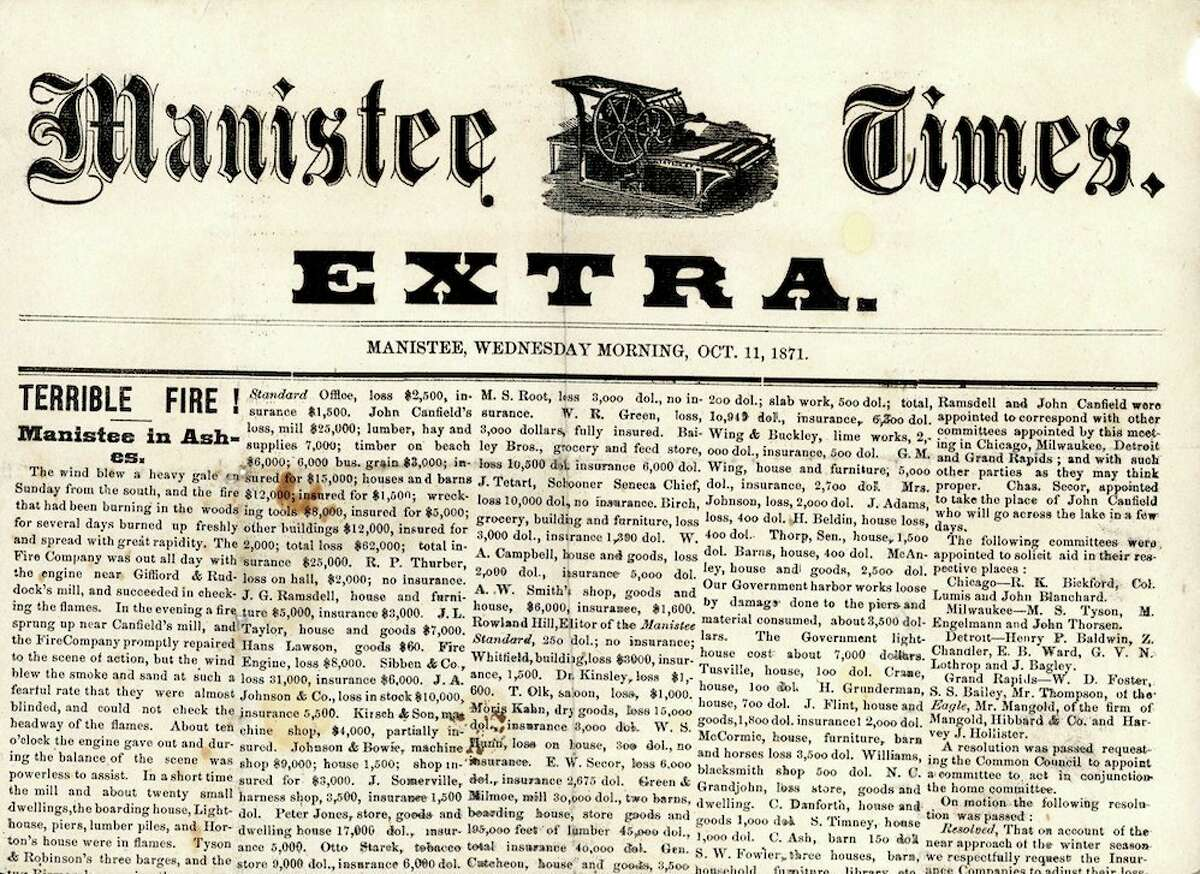 A portion of The Manistee Times front page of Oct. 11, 1871 after the Great Fire.(Manistee County Historical Museum photo)