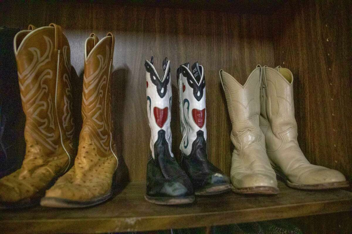 Boots available at the Texas Size Garage Sale as seen Wednesday, Oct. 6, 2021 at 407 E. Scharbauer Drive. Jacy Lewis/Reporter-Telegram