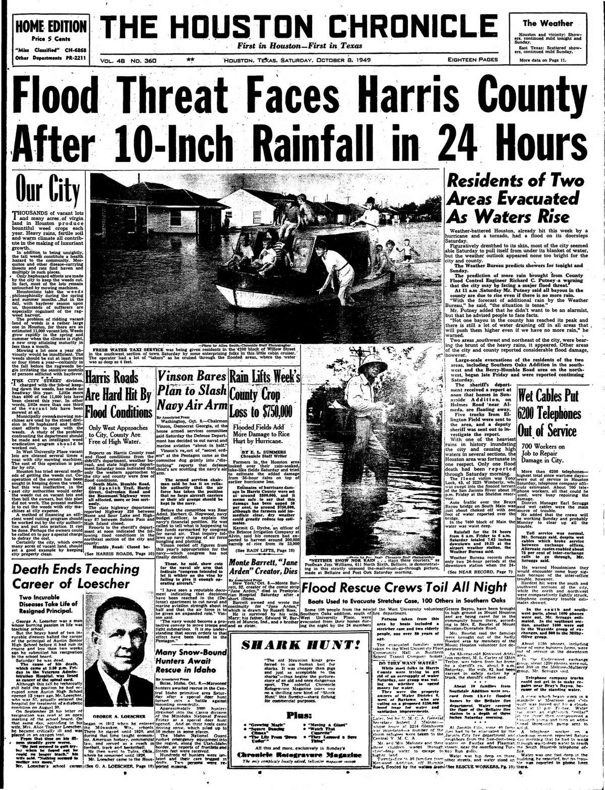 Houston Chronicle front page from Oct. 8, 1949.