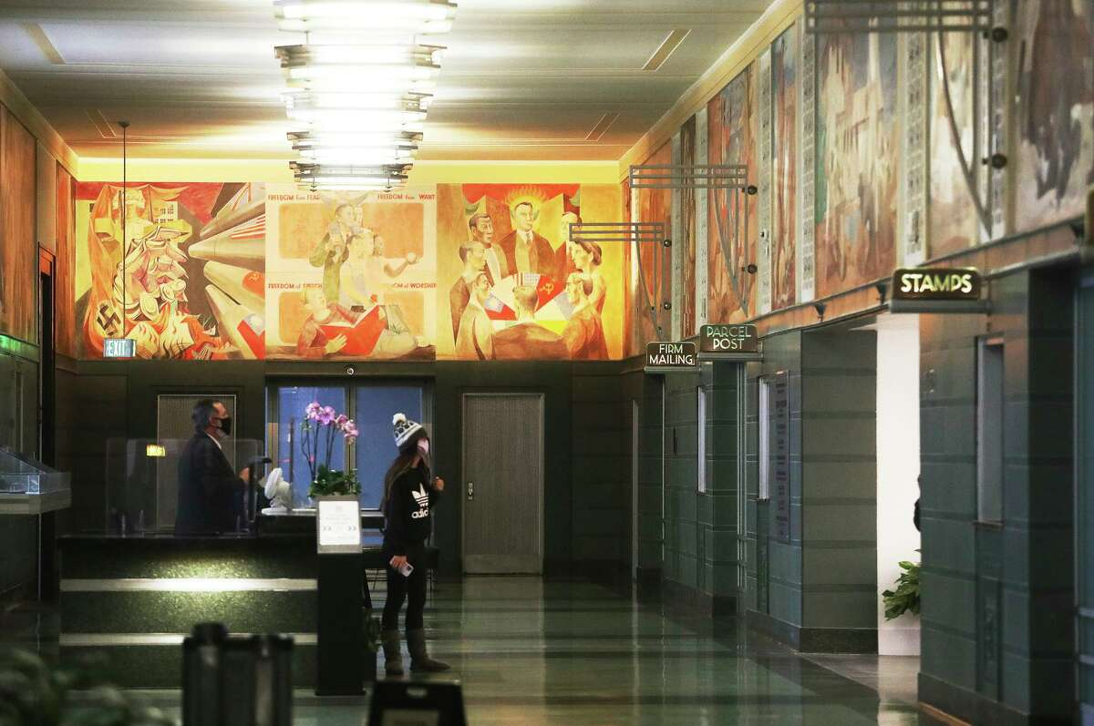 """The 27-panel """"War and Peace"""" mural by Anton Refregier is dedicated to former President Franklin D. Roosevelt."""