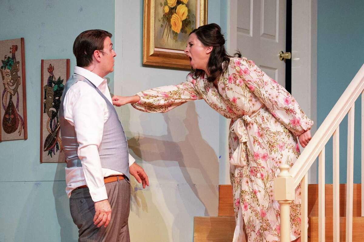 """Newlyweds Corie (Sarah Turner) and Paul (Kevin Leoffler) have a disagreement during dress rehearsal for Midland Community Theater?•s ?'Barefoot In The Park?"""" October 5, 2021 at MCT. MANDATORY CREDIT: The Oilfield Photographer, Inc."""