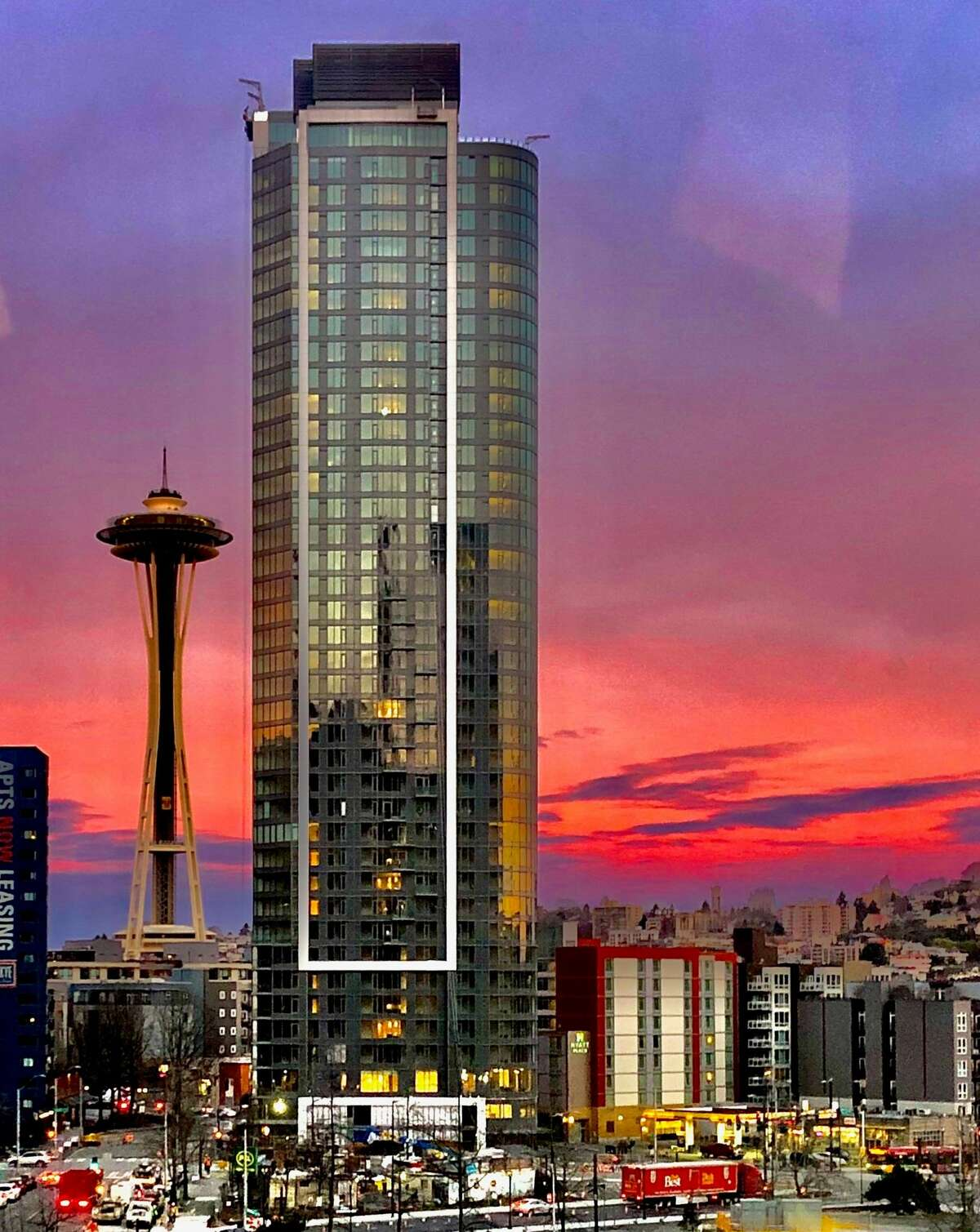 The Spire tower has forever changed the Seattle skyline. No buildings this tall are this level with the Space Needle. It's situated at the edge of zoning which requires buildings be limited to 85 feet (approximately eight stories) high.
