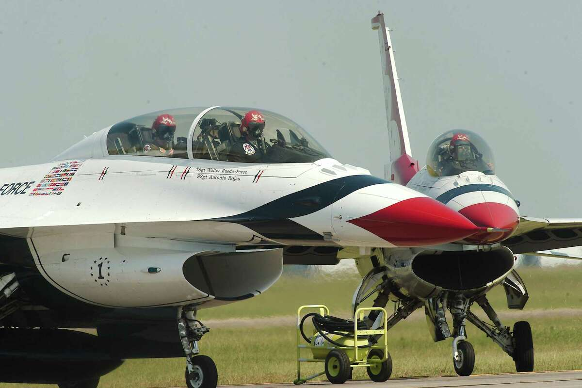 Jets with the U.S. Air Force Thunderbirds taxi off the runway as they arrive at Ellington Airport for the Wings Over Houston Airshow scheduled for Oct. 9-10.