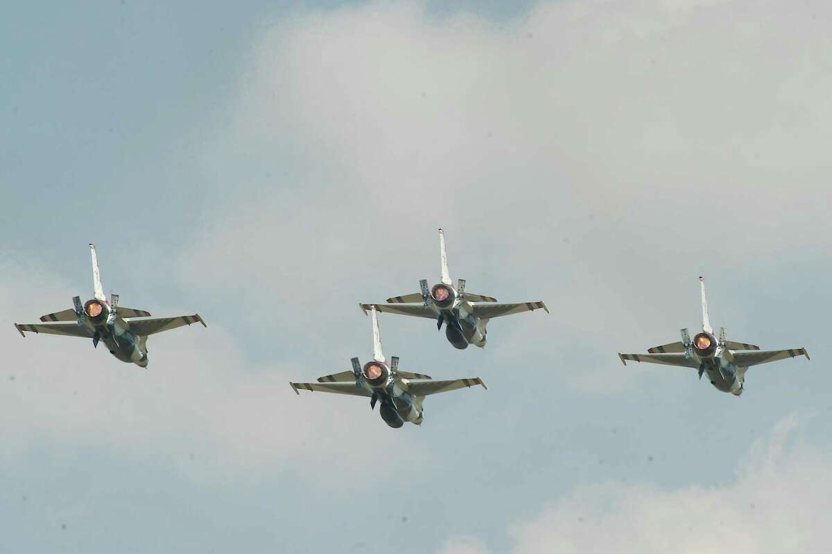 U.S. Air Force Thunderbirds fly in formation.