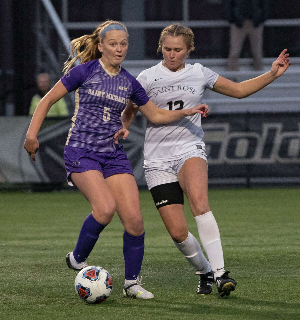 St. Michael's Emma Houston, left, and St. Rose's Mia Klammer battle for the ball during a soccer game at Plumeri Sports Complex on Tuesday, Oct, 5, 2021 in Albany, N.Y.