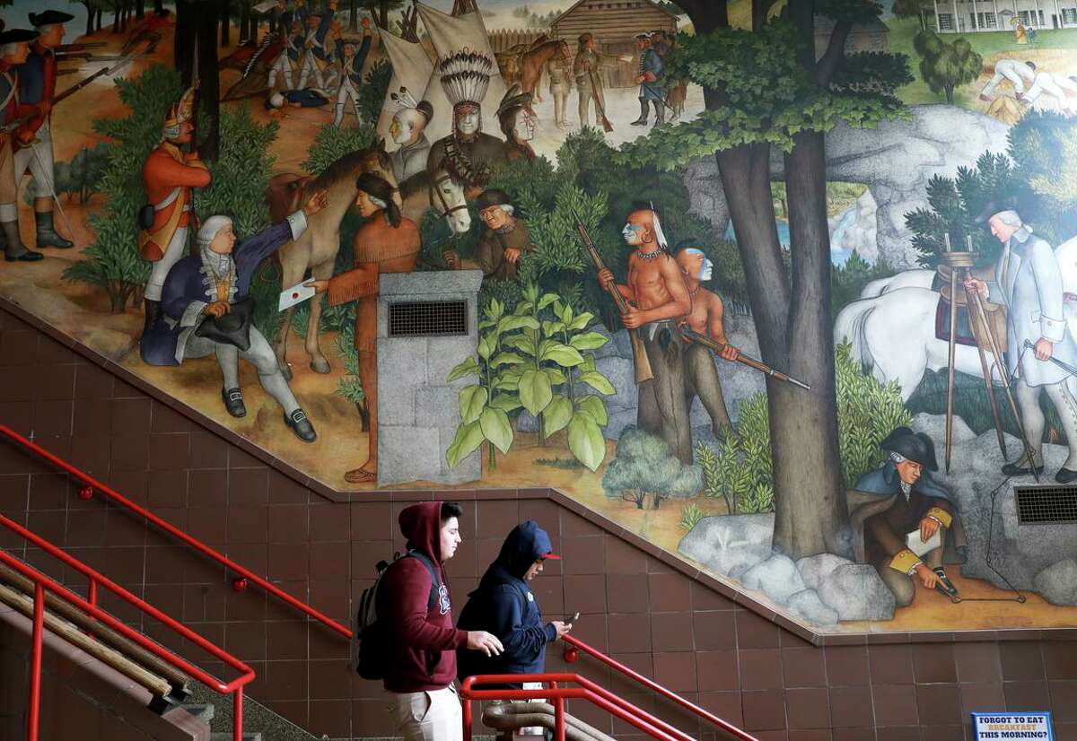 The San Francisco school board will appeal a Superior Court judge's ruling blocking the district's effort to cover a controversial mural depicting the life of George Washington. The historic murals at George Washinton High School depict the treatment of American Indians and African Americans, among other topics.