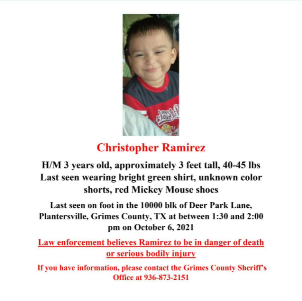 Search teams are still looking for 3-year-old Christopher Ramirez who went missing in Grimes County on Wednesday, according to a Grimes County Sheriff's press conference on Oct. 7, 2021.