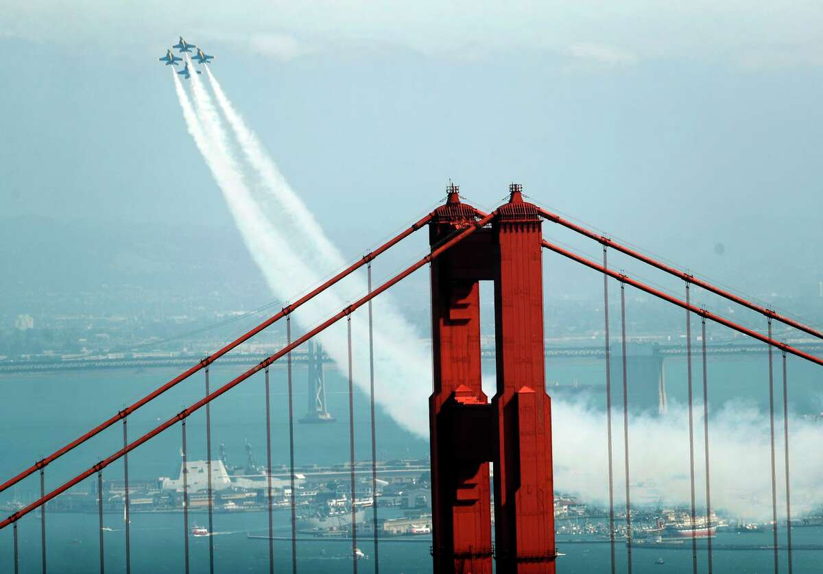 The U.S. Navy's Blue Angels practice above San Francisco Bay on Thursday.