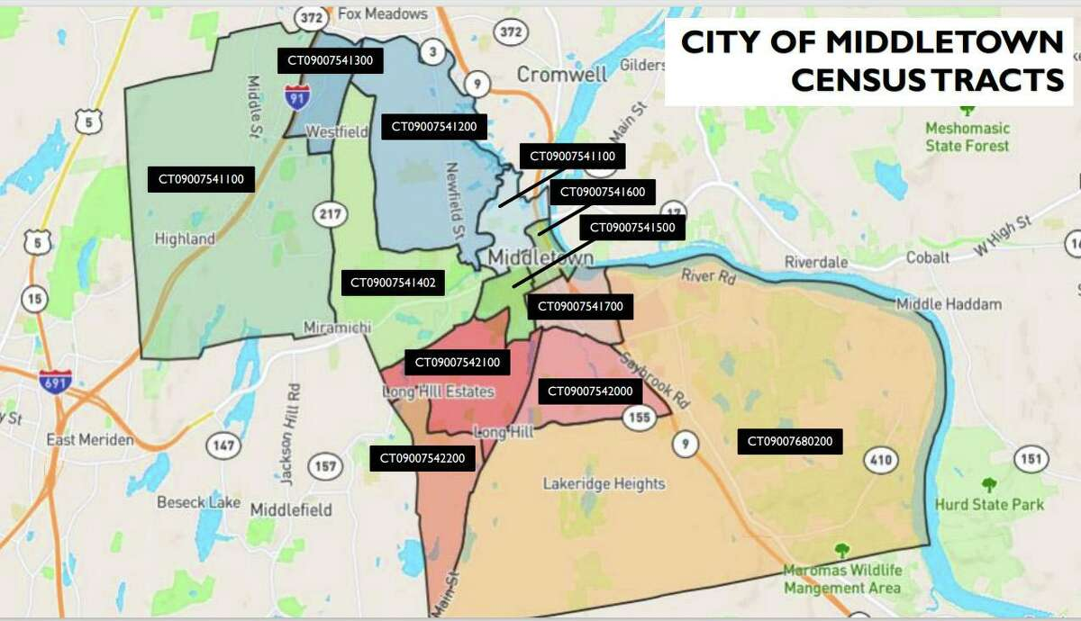 The city of Middletown has 12 census tracts, which the health office uses to track the number of COVID-19 vaccines in each area. Personnel further break these down into age groups.